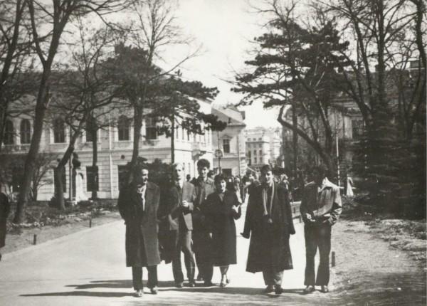 Beogradski šetači -Danilo Kiš sa prijateljima sa Cetinja i kolegama sa fakulteta na ulazu u Kalemgdanski park